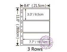 PCCB 3 Pockets Transparent Stamp Banknote Album Insert Page Sheets Pack of 10