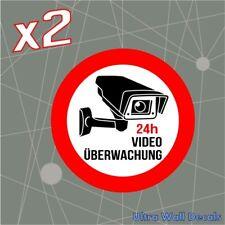 2 x Videoüberwachung Aufkleber Hinweisschild Warnaufkleber Kamera