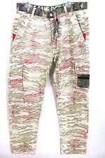 NWT Hustle Gang Geronimo Cargo Pants Beige Red Khaki Camo Aztec Mens 38(37) x 33
