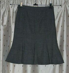 Un Deux Trois Ladies Lined Grey Stretch Wool Skirt ~ Size Fr 36 (uk 8)