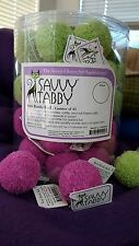 Savvy Tabby 6pc Knit Rattle Balls Cat Toys. NWT. Lime Green & Bright Pink.