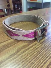 Express Genuine Leather Pink Argyle Belt Size Small