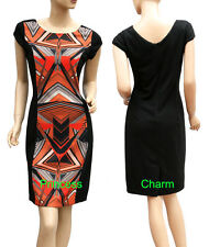 Viscose Shift Geometric Regular Size Dresses for Women