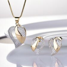 Women Sapphire Crystal Gold Stud Earrings Fashion Charms Pendant Necklace Set