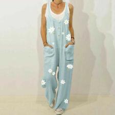Womens Cotton Flroal Jumpsuit Dungarees Ladies Loose Overalls Playsuit Pants US