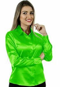 Women Satin Office Shirt Button Down Solid Collar Blouse Top - Flowercent Green