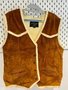 Vintage Mens Gilet XL Leather Distressed Deep Tan