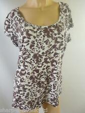 Mujer Blanco / Marrón Estampado 100% Algodón Cuello Redondo Camiseta UK 16 UE 44