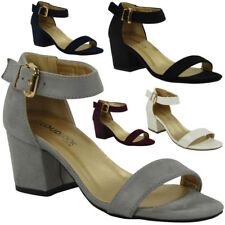 LADIES SUMMER ANKLE STRAP CHUNKY LOW BLOCK HEEL SHOES BUCKLE SANDALS SIZE