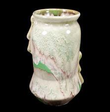 """VINTAGE WELLER GREENBRIAR OHIO ART POTTERY VASE 7 3/4"""" GREEN & LAVENDER GLAZE"""