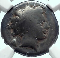 NEAPOLIS Ancient NAPLES in Campania 320BC Silver Greek Coin MAN BULL NGC i77998