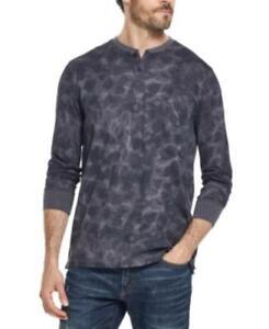 Weatherproof Vintage Men's Abstract Print Henley Long Sleeve Sweater (Gray, M)
