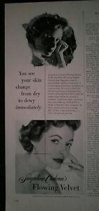 1953 Jacqueline Cochran flowing velvet skin moisture cream lotion vintage ad