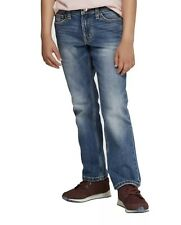 Cat & Jack Boys Stretch Straight Fit Blue Jeans Size 12 Slim W/ Adj Waist