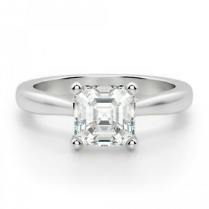 1.50 Ct Asscher Cut Diamond Engagement Ring White Gold Finish Rings Size O P N I