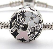 SPRING FLOWERS w BUTTERFLY CHARM Bead Sterling Silver.925 f European Bracelet641