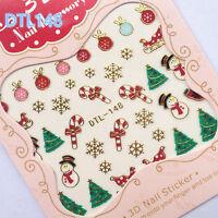 1 Sheet 3D Nail Art Stickers Christmas Tree Snowman Snowflake Gift Design Tips