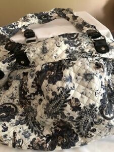 Travel, Leisure and Weekender Bag White, Black, Gray and Tan Colors Floral Print