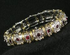 Silver Gold Plated With Red Garnet Swarovski Crystal Stretch Bracelet Intricate