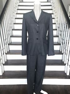 Ann Taylor Charcoal Gray Pinstripe Rayon Pant Suit Size 4 Formal Business Career