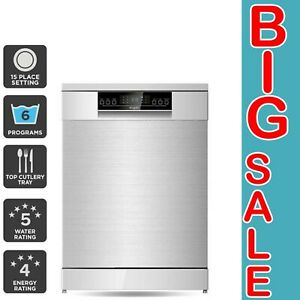 Freestanding Dishwasher (Stainless Steel) with LED Display & Top Cutlery Tray