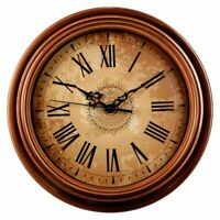 Wall Clock Round Decorative Vintage Style Roman Numeral Home Kitchen Living Room
