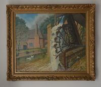 Water Wheel  by Canal at sticklepath Devon Oil painting by A.R.C.A