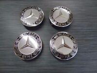 4x Mercedes Benz Alloy Wheel Centre Caps 75mm Badges BLACK Hub Emblem  A B C E