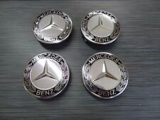 4x Mercedes Benz Alloy Wheel Centre Caps 75mm Badges BLACK Hub Emblem  A B C E