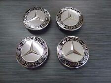 4x Mercedes Benz Leichtmetall Radkappen 75mm Kennzeichen Schwarz Radlager Logo A