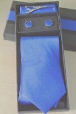 Gift Box Poly/Silk Neck Tie Cufflink & Handkerchief Set Plain Light Blue