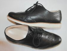 Cole Haan Women's Lunargrand Black white Leather Wingtip Oxford Shoes size 8B