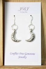925 sterling silver earrings charm Moon Star pewter pendant 1 pair Celestial