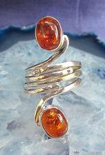 Ring Silber 925 Bernstein in spiralförmiger Fassung 2 Steine braun