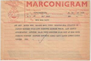 MARCONIGRAM 1958 hand in at PORTISHEAD re SMALL WORLD balloon ATLANTIC crossing