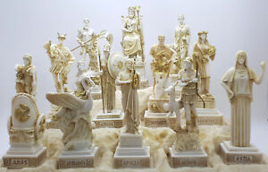 SET 12 Twelve Greek Olympian Gods Pantheon Figure Handmade Statue Sculpture