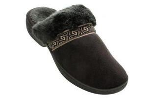 ISOTONER Women's Amelia Microsuede Clog Slippers Black Braid Trim Faux Fur 6.5-7