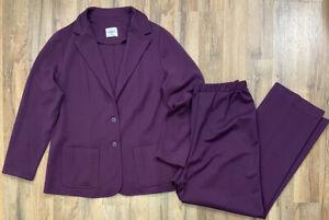 The Fire Islander Woman Purple Knit 2 Piece Suit Women's 34/36 (1x) Plus Blazer