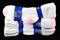 9-11 Heavy Weight Athletic Crew Cotton Pink Heel & Toe Socks Mens Womens NEW
