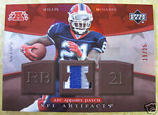 WILLIS MCGAHEE 2007 NFL ARTIFACTS AFC APPAREL 3 COLOR PATCH RED #19/25
