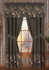 Browning Whitetails Window Drapes, Buckmark Logo 2 Panel Curtains Deer Buck Camo