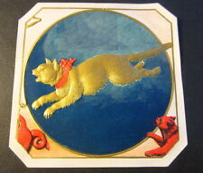 Original Old Antique - KIT KAT - Outer CIGAR BOX LABEL - Gold CAT w/ RED RIBBON