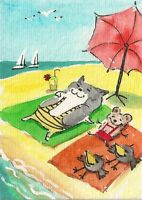 PRINT OF WATERCOLOR ACEO PAINTING RYTA TUXEDO CAT MOUSE CROW BEACH SEASCAPE