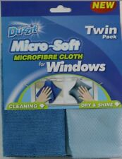 NEW MICROFIBRE WINDOW CLOTH TWIN PACK DUZZIT CLEANING GLASS