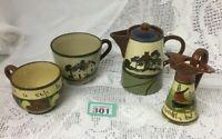 Watcombe Torquay Devon Motto Ware Collection 2 Jugs & 2 Cups  Beige Green & Blue