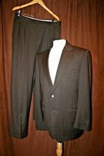 Canali Wool Suit Brown Blue Stripes 52R 42R 34x31 Pleated Made in Italy 2 Button