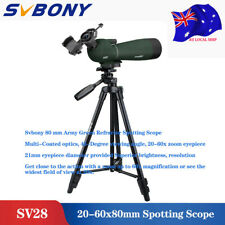 SV28 20-60x80mm Spotting Scope BAK4 Prism Refractor Angled Zoom Bird watching AU