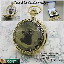 14K GOLD BLACK LABRADOR enamel Cover Men Antique Pocket Watch Gift Chain Box C51