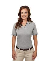 Tri-Mountain Women's Contrast Trim V-Neck Johnny Collar Short Sleeve Shirt. 152