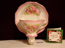 VICTORIA'S GARDEN ROSES FLORAL TEACUP NIGHTLIGHT/NIGHT LIGHT~PURPLE OR GREEN
